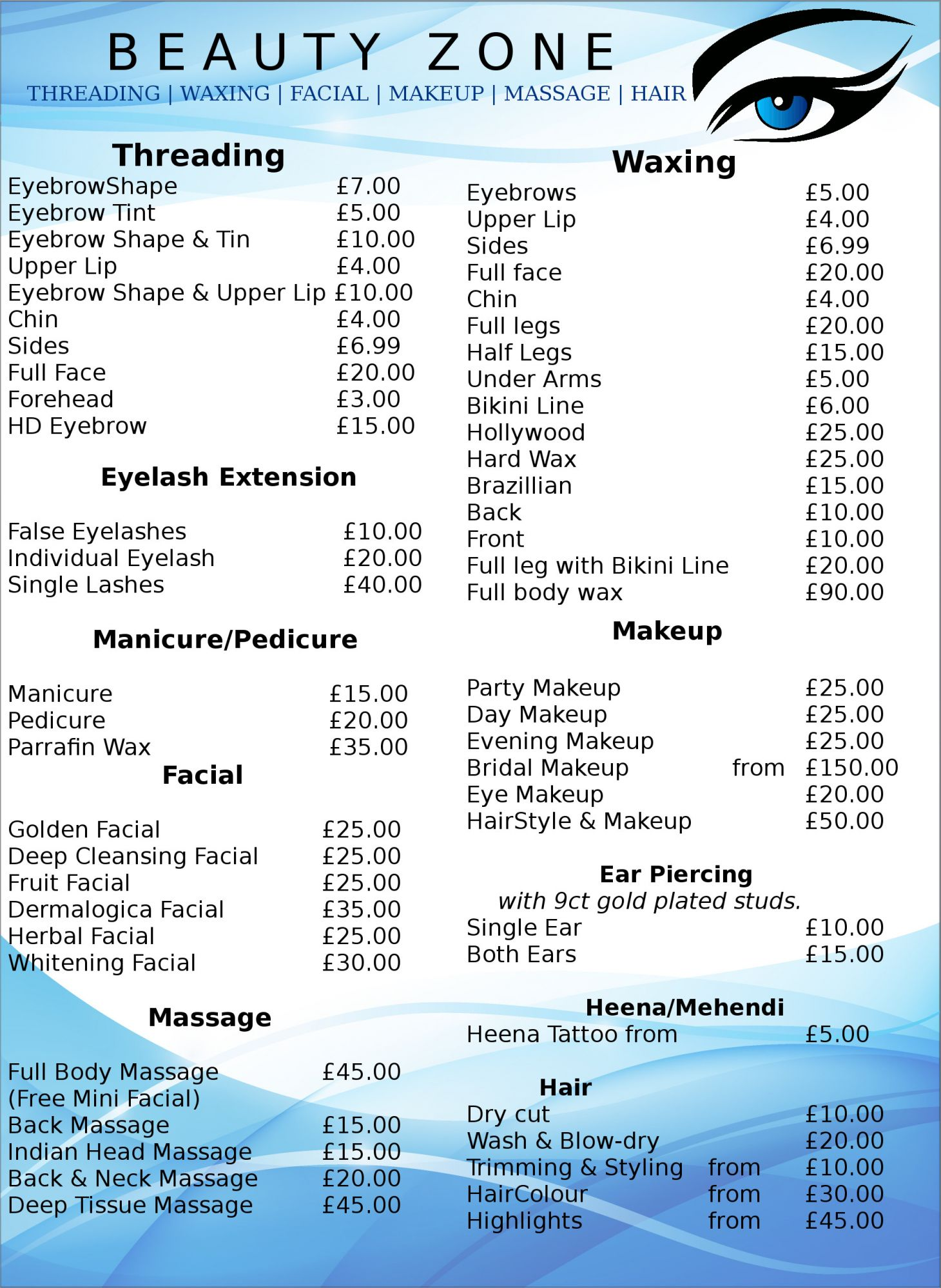 Price and Treatment list for Beauty Zone